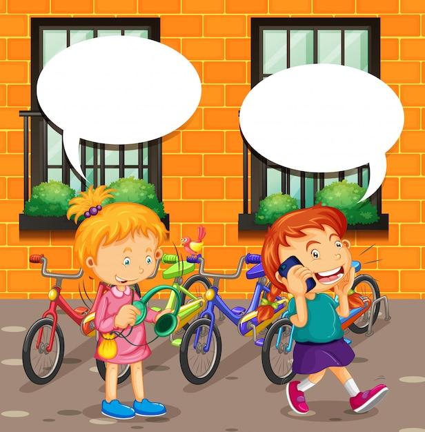 Chico hablando por teléfono y chica escuchando música vector gratuito