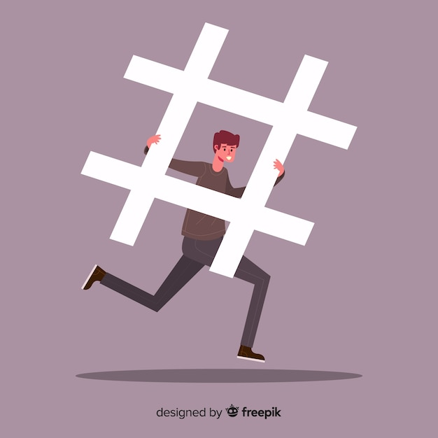 Chico joven con símbolo hashtag vector gratuito