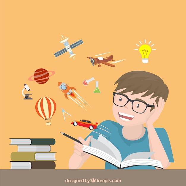 Chico leyendo historias creativas Vector Premium