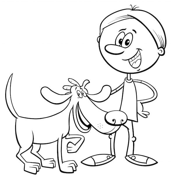 Chico con el libro de colorear de dibujos animados de perro ...
