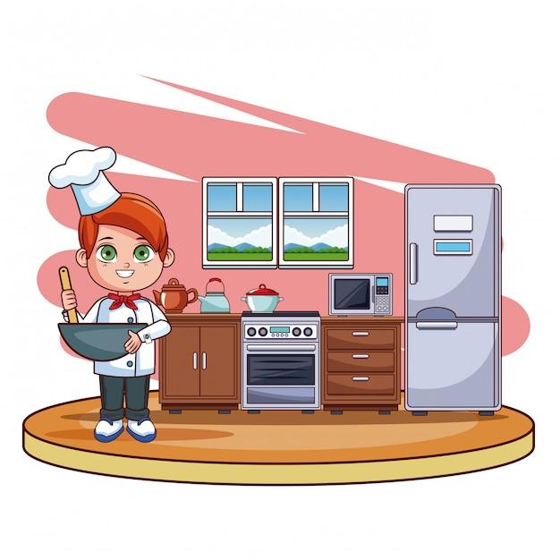 Chico lindo chef en dibujos animados de cocina descargar - Cocina dibujo ...