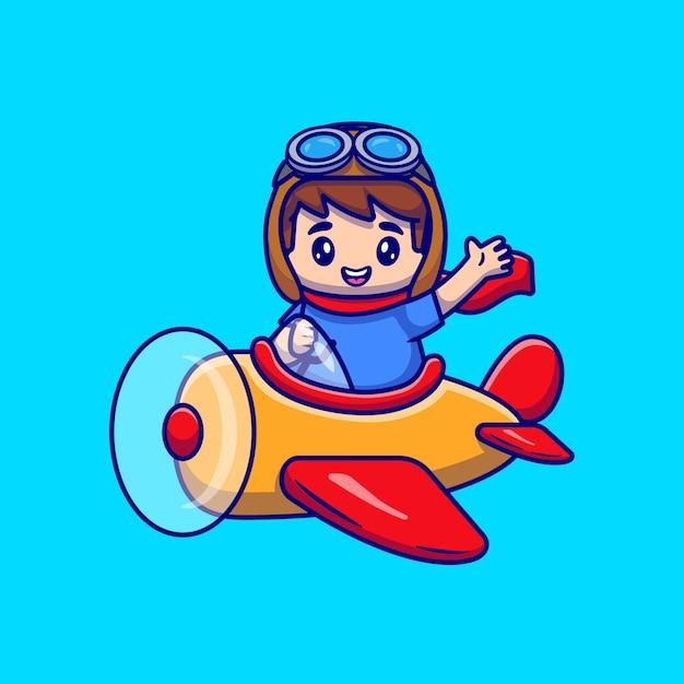 Chico lindo conduciendo dibujos animados de avión vector gratuito