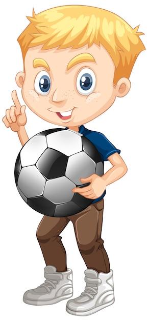 Chico lindo con fútbol vector gratuito