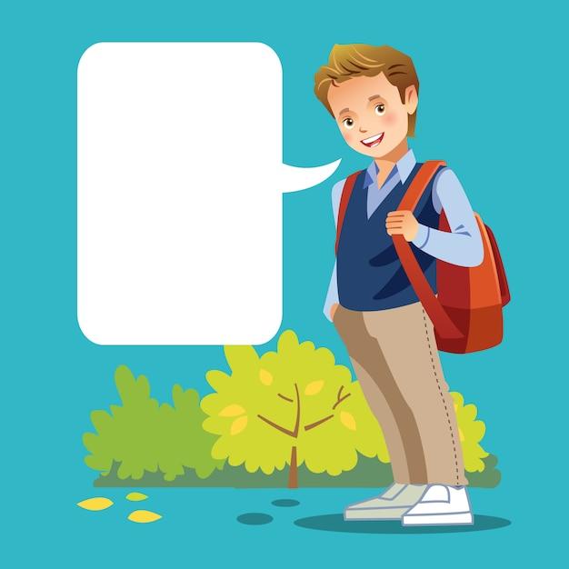 Chico lindo ir a la escuela con bocadillo en blanco Vector Premium