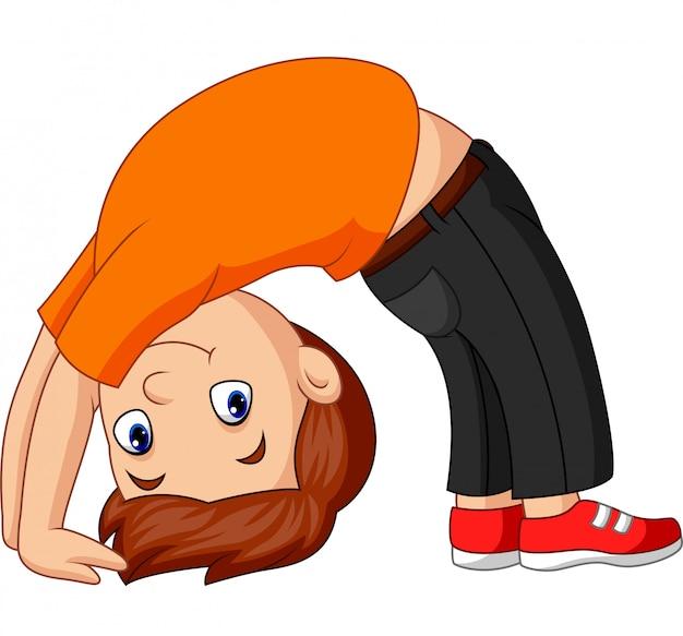 Chico practicando arco hacia arriba pose de yoga Vector Premium