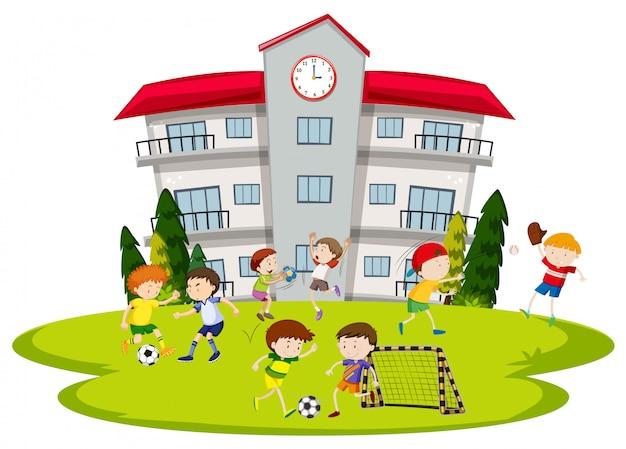 Chicos jugando al fútbol en la escuela vector gratuito