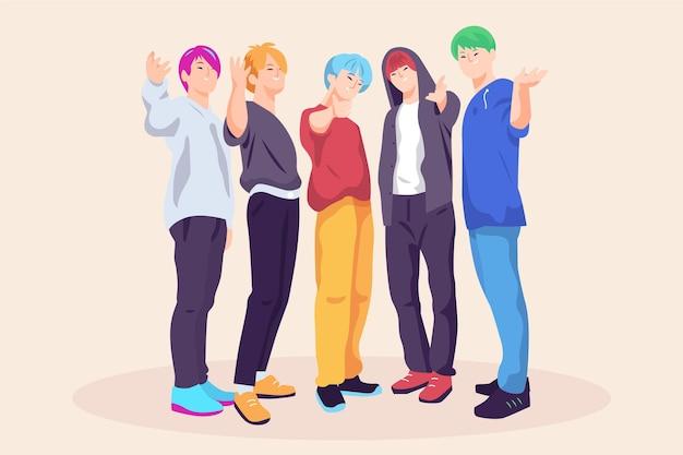 Chicos k-pop posando vista frontal vector gratuito