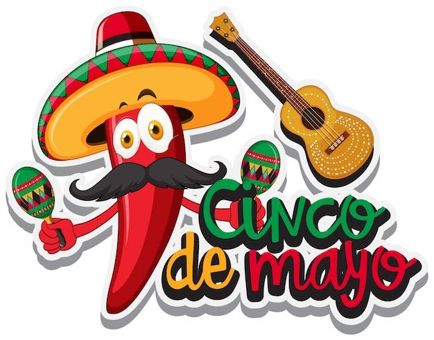ccd527e63db16 Chile rojo con sombrero mexicano y maracas