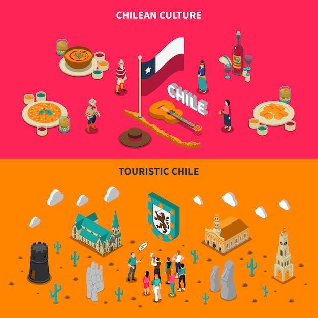 Chile turístico 2 banners horizontales isométricos vector gratuito