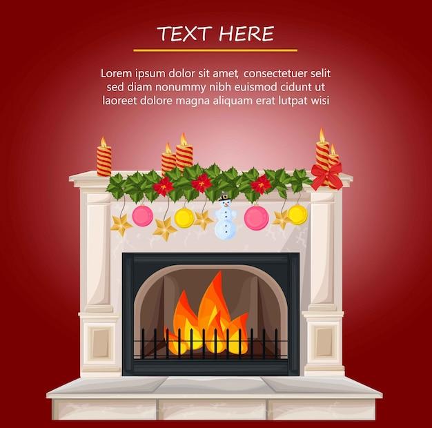 Dibujos Chimeneas De Navidad.Chimenea De Chimenea De Invierno Y Regalos De Navidad Estilo