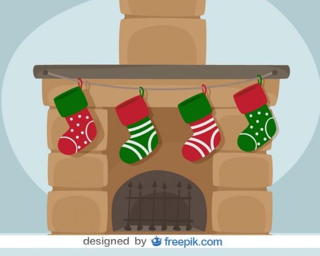 Chimenea de navidad ilustracin vectorial de tarjeta Descargar