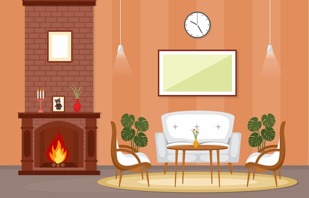 muebles de sala de estar elegantes del país Chimenea Sala De Estar Casa Casa Interior Muebles Vector