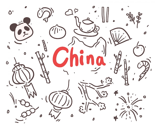 China dibujada a mano Vector Premium