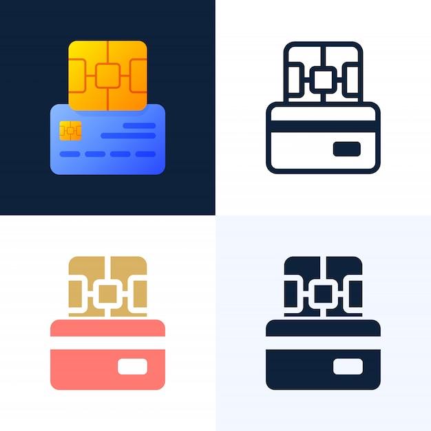 Chip y tarjeta de crédito conjunto de iconos de vector stock. Vector Premium