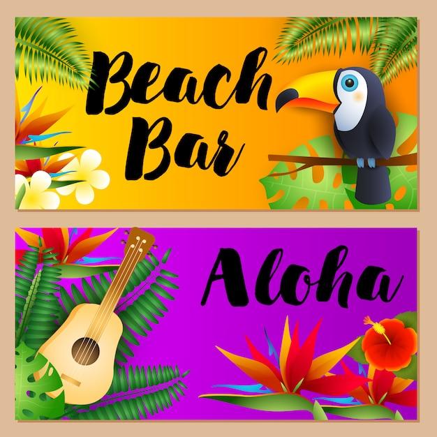 Chiringuito de playa, set de letras aloha, tucán y ukelele. vector gratuito