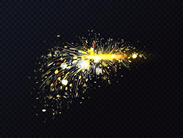 Chispas de fuego de soldadura de metal o chispas de corte. vector gratuito