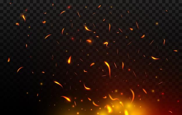 Chispas de hoguera volando, fuego, quemando partículas rojas y naranjas brillantes. llama de fuego realista con chispas volando en el aire. tormenta de fuego, balefire sobre fondo negro transparente Vector Premium