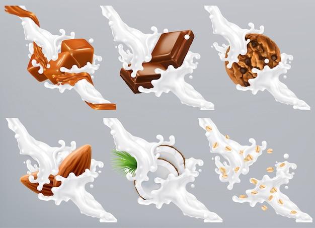 Chocolate, caramelo, coco, almendras, galletas, avena en salpicaduras de leche. yogurt 3d realista Vector Premium