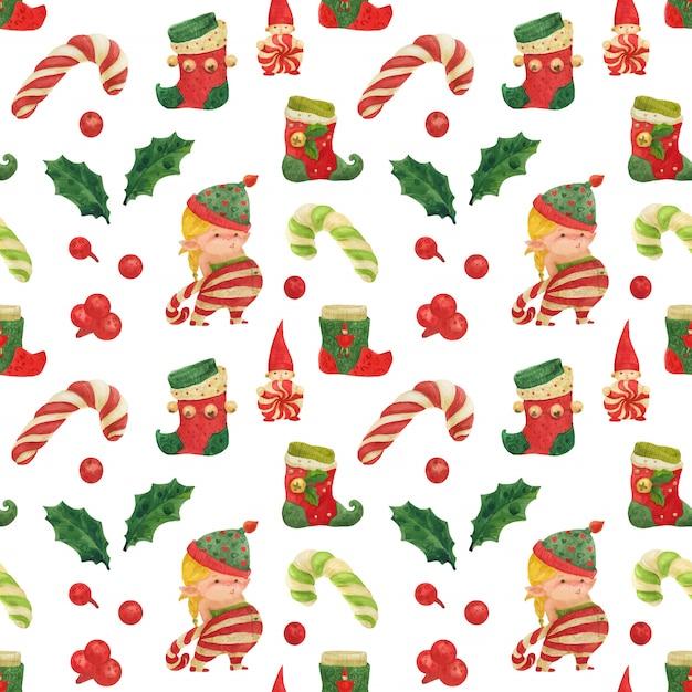 Christmas elves story acuarela de patrones sin fisuras con elfo niña Vector Premium