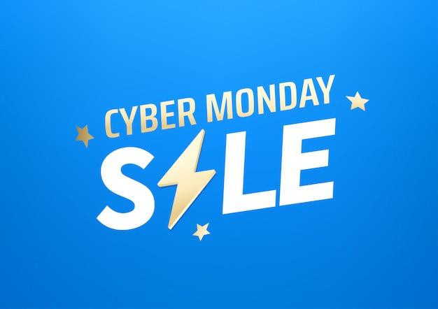 Ciber lunes venta banner. concepto de oferta de temporada Vector Premium