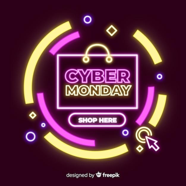 Ciber lunes venta banner de neón vector gratuito