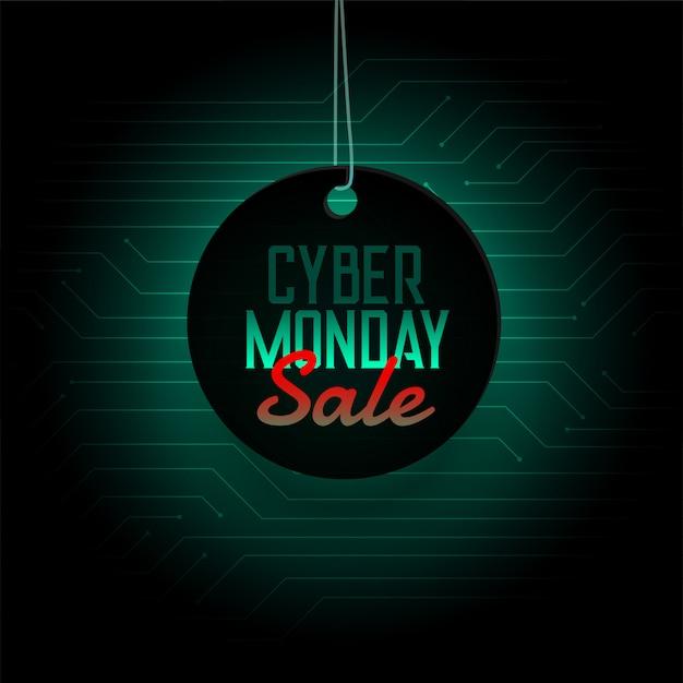 Ciber lunes venta colgante etiqueta diseño banner vector gratuito