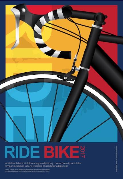 Ciclismo cartel diseño plantilla vector illustration Vector Premium