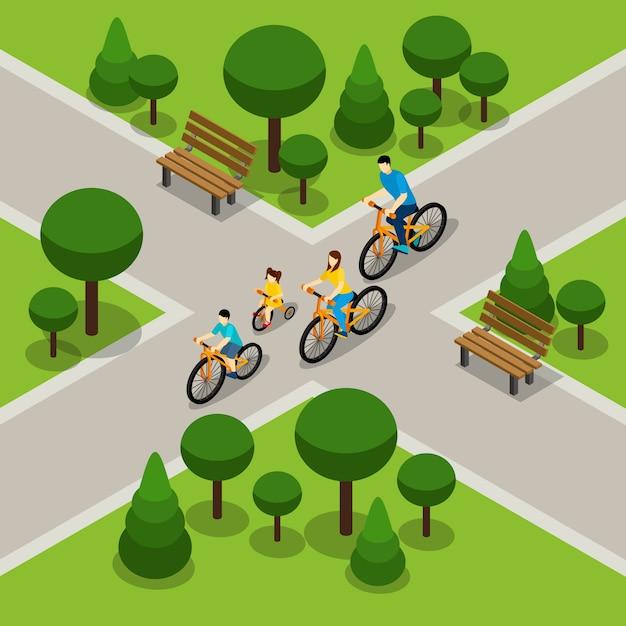 Ciclismo isométrico familiar de city park vector gratuito