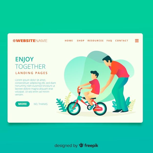 Ciclismo juntos página de inicio vector gratuito