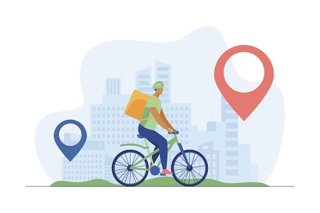 Ciclista entregando comida a los clientes en la ciudad. pin, ruta, ciudad ilustración vectorial plana. servicio de transporte y entrega vector gratuito