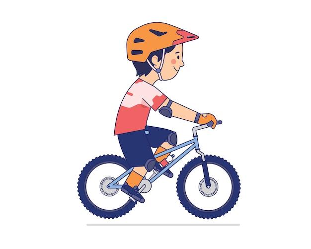 Ciclista de montaña disfrutar de su paseo Vector Premium