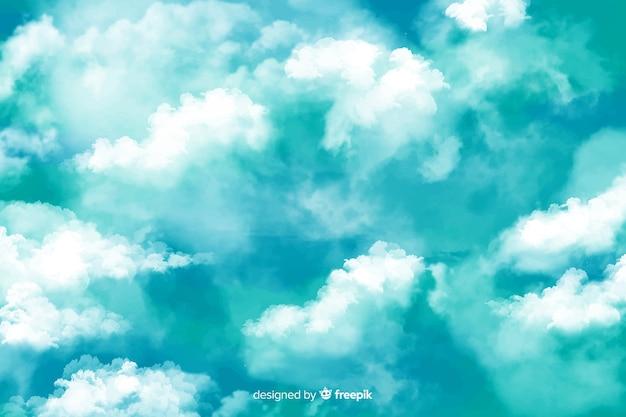 Cielo azul con fondo de nubes vector gratuito