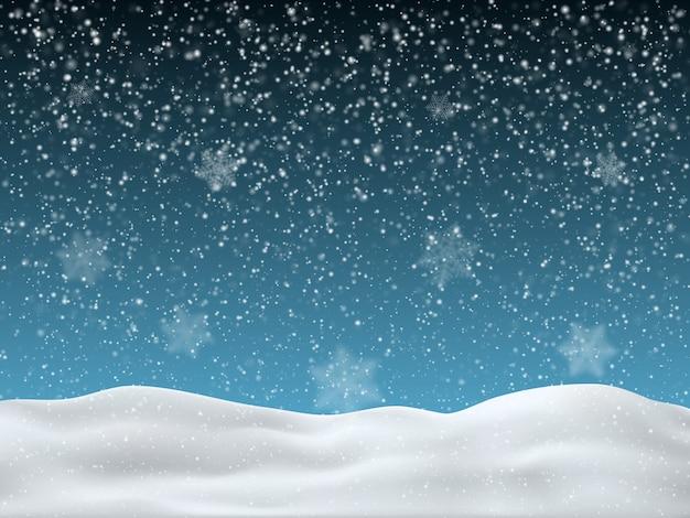 Cielo azul de invierno con nieve que cae   Vector Premium