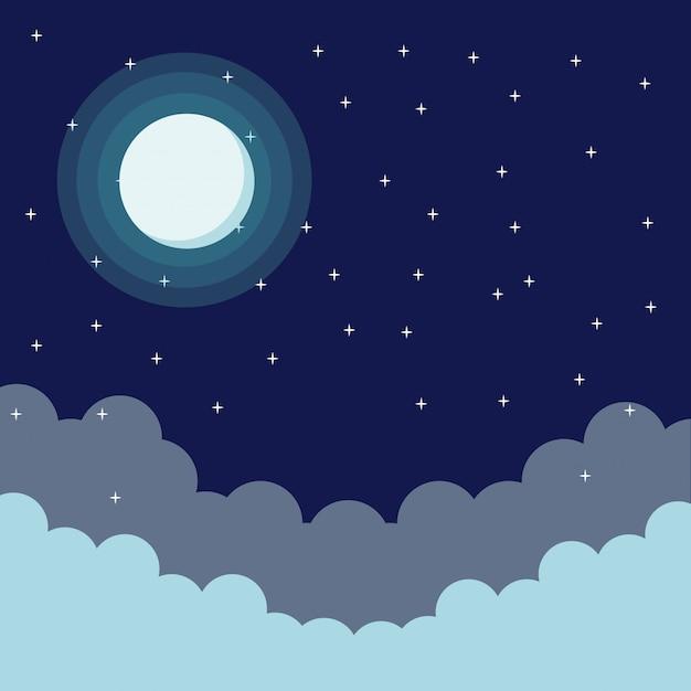 Cielo En La Noche De Dibujos Animados Descargar Vectores Premium