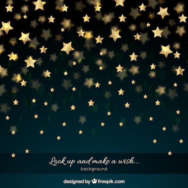 Cielo nocturno con estrellas doradas vector gratuito