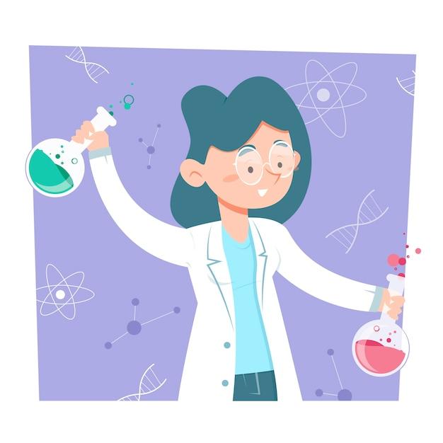 Científico femenino mezclando pociones químicas vector gratuito