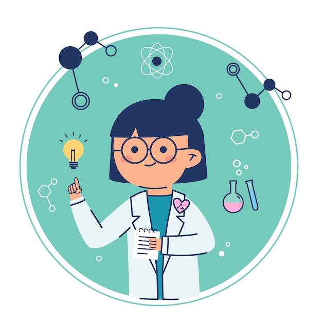 Científico femenino teniendo una idea bombilla Vector Premium