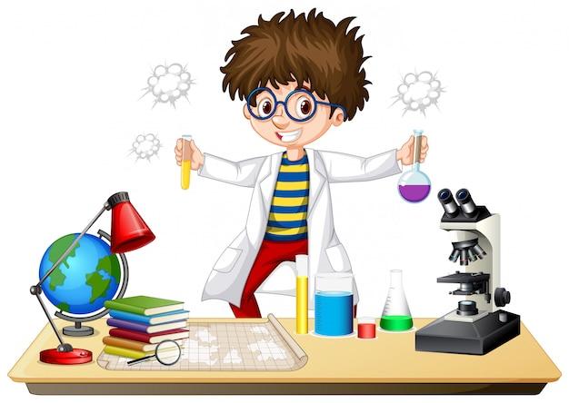 Científico haciendo experimento en laboratorio de ciencias vector gratuito