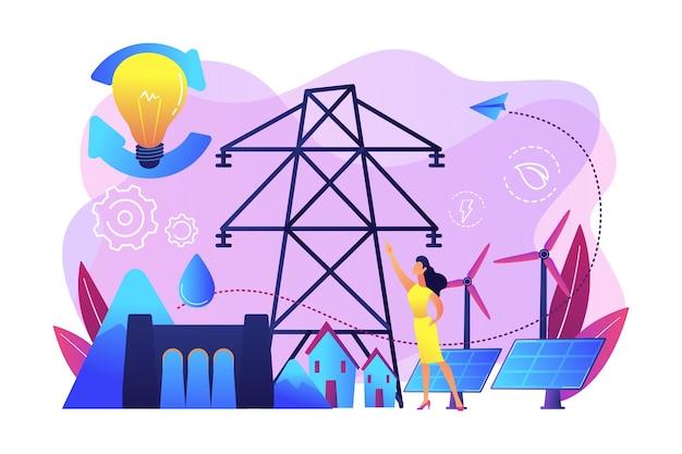 Científico con ideas de desarrollo sostenible paneles solares, energía hidroeléctrica, eólica. energía sostenible, energía orientada al futuro, concepto de sistema de energía inteligente. vector gratuito