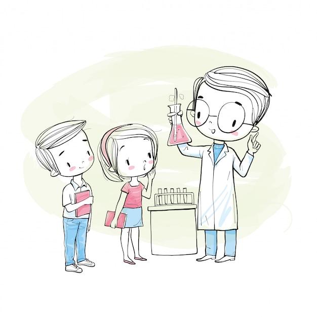 Científico masculino y estudiantes. Vector Premium