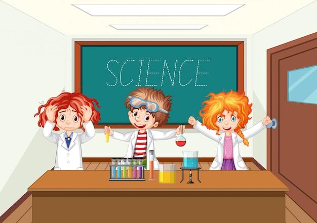 Científico que trabaja con herramientas científicas en laboratorio vector gratuito