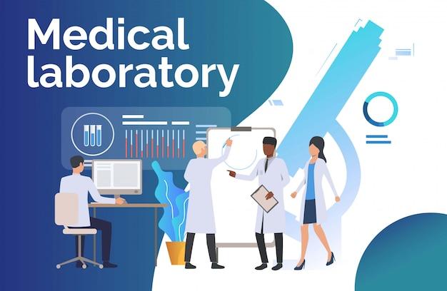Científicos analizando datos médicos. vector gratuito