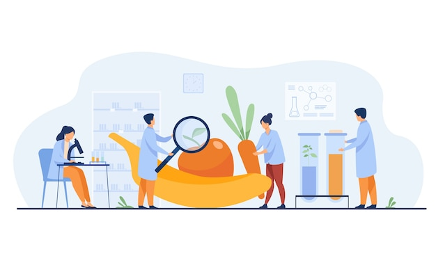 Científicos en biología que investigan las frutas. personas que cultivan plantas en el laboratorio. ilustración de vector de alimentos transgénicos, agricultura, concepto de ciencia vector gratuito