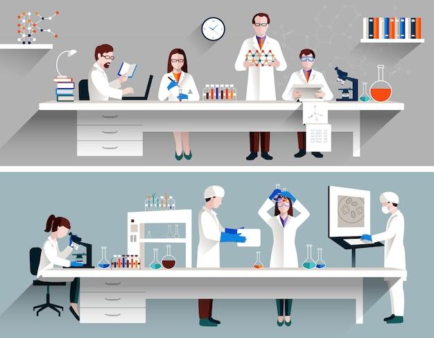 Científicos en concepto de laboratorio vector gratuito