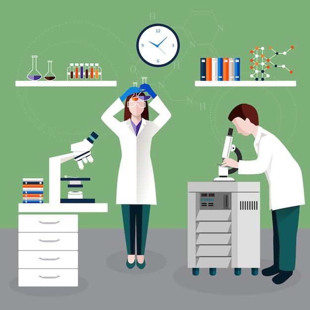 Científicos personas y composición de laboratorio vector gratuito