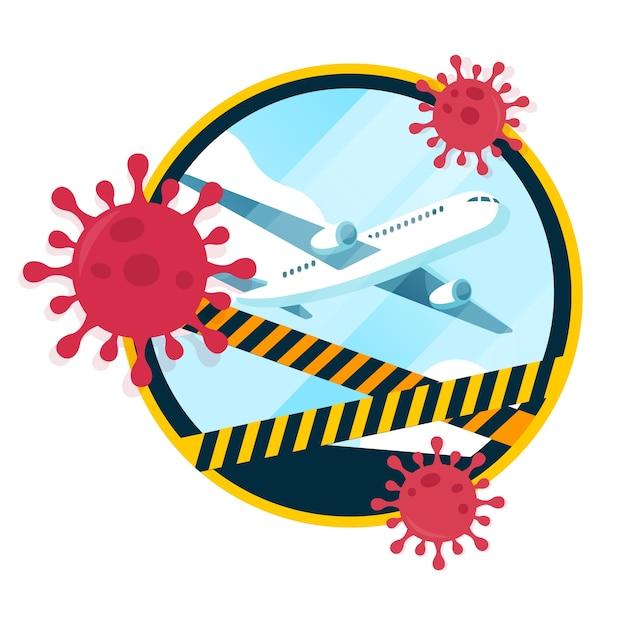 Cierre de aeropuertos y vacaciones por pandemia vector gratuito