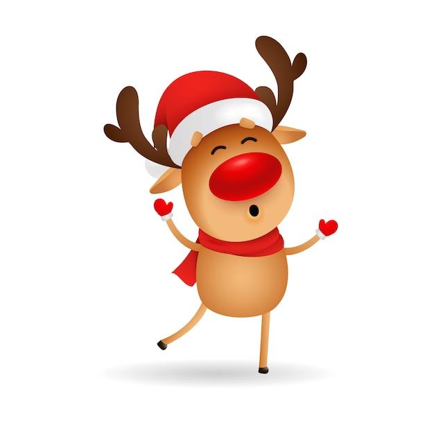 Ciervos de dibujos animados feliz deseando feliz navidad vector gratuito