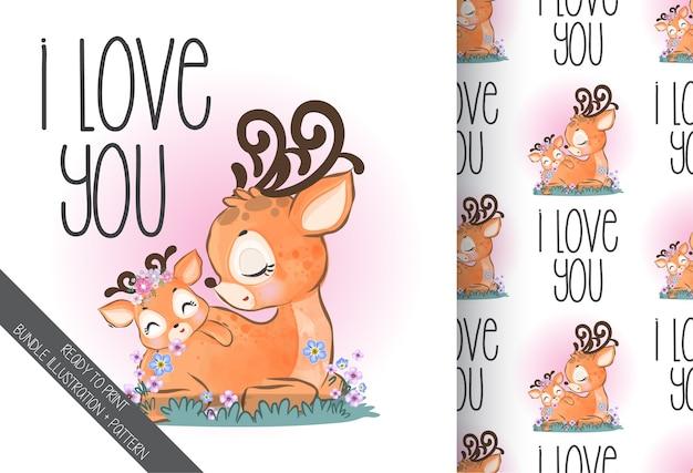 Ciervos encantadores lindo bebé animal con flores de patrones sin fisuras Vector Premium
