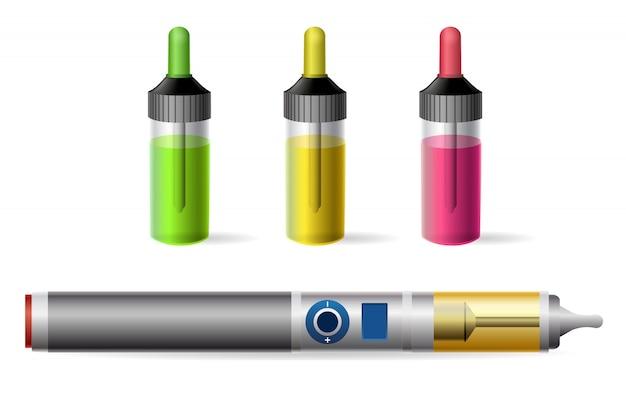 Cigarrillo electrónico de vapor y botella de jugo vaping Vector Premium
