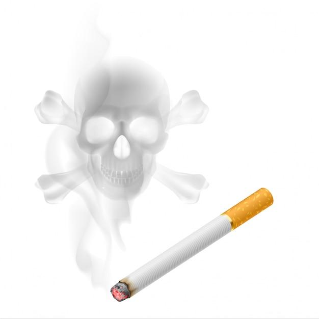 Cigarrillo y humo en forma de calavera Vector Premium